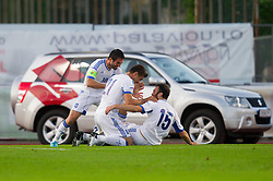 Karagounis Georgios of Greece, Katsouranis Konstantinos of Greece and Torosidis Vassilios of Greece celebrate during friendly football match between national teams of Slovenia and Greece, on May 26, 2012 in Kufstein, Austria.   (Photo by Vid Ponikvar / Sportida.com)