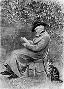 Thomas Carlyle (1795-1881) Scottish-born British historian and essayist reading in his garden in Chelsea, London. Etching after painting by Helen Allingham.