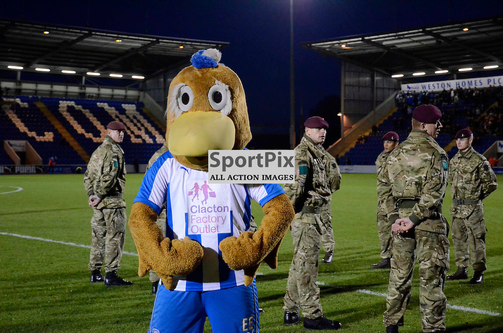"Colchesters mascot ""Eddie the Eagle"" before Colchester clash in the FA Cup against Peterborough"