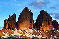 Mountain impression Tre Cime - Europe, Italy, South Tyrol, Sexten Dolomites, Tre Cime - Sunset - July 2009 - Mission Dolomites Tre Cime