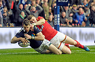 JP License<br /> <br /> RBS Six Nations Championship<br /> Scotland v Wales, Murrayfield Stadium, Edinburgh<br /> <br /> Tommy Seymour of Scotland scores a try despite Scott Williams of Wales <br /> <br /> <br /> <br />  Neil Hanna Photography<br /> www.neilhannaphotography.co.uk<br /> 07702 246823