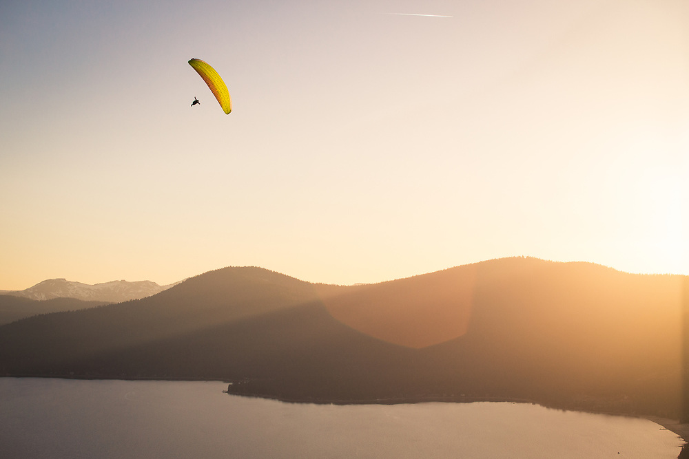 Paragliding at Day Dreams above Kings Beach and Lake Tahoe, CA.