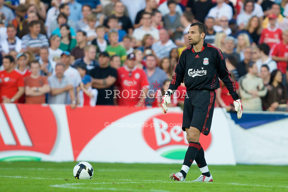 GRENCHEN, SWITZERLAND - Wednesday, July 16, 2008: Liverpool's goalkeeper Diego Cavalieri in action against FC Luzern during a pre-season friendly at Stadion Bruhl. (Photo by David Rawcliffe/Propaganda)