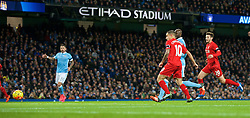 MANCHESTER, ENGLAND - Saturday, November 21, 2015: Liverpool's Philippe Coutinho Correia scores the second goal against Manchester City during the Premier League match at the City of Manchester Stadium. (Pic by David Rawcliffe/Propaganda)