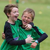 Darragh Ball and Ashton Glynn celebrate scoring a goal during the Avenue Utd Summer Soccer Camp