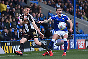Notts County defender Shaun Brisley (16) battles with Chesterfield defender Bradley Barry (27) during the EFL Sky Bet League 2 match between Chesterfield and Notts County at the b2net stadium, Chesterfield, England on 25 March 2018. Picture by Jon Hobley.