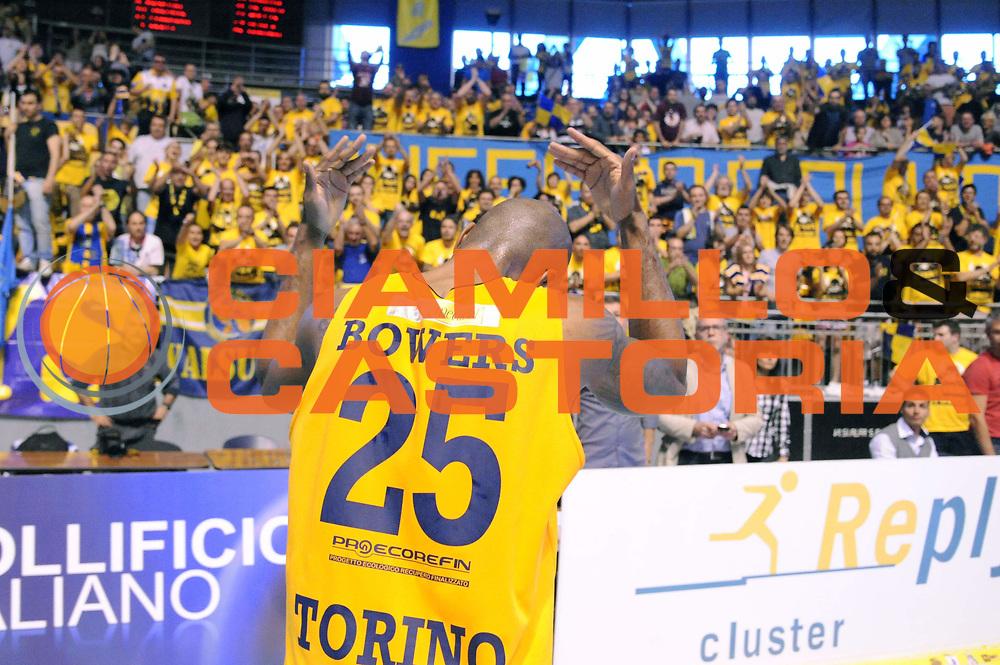 DESCRIZIONE : Torino LNP DNA Adecco Gold 2013-14 Manital Torino Angelico Biella Playoff Quarti di Finale<br /> GIOCATORE : Tim Bowers<br /> CATEGORIA : Esultanza<br /> SQUADRA : Manital Torino<br /> EVENTO : Campionato LNP DNA Adecco Gold 2013-14<br /> GARA : Manital Torino Angelico Biella<br /> DATA : 11/05/2014<br /> SPORT : Pallacanestro<br /> AUTORE : Agenzia Ciamillo-Castoria/Max.Ceretti<br /> Galleria : LNP DNA Adecco Gold 2013-2014<br /> Fotonotizia : Torino LNP DNA Adecco Gold 2013-14 Manital Torino Angelico Biella Playoff Quarti di Finale<br /> Predefinita :