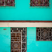 Colourful architecure and patterns on a facade in Cienfuegos, Cuba