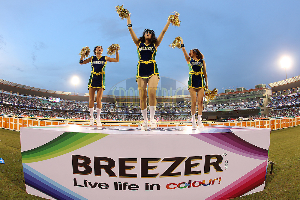 Cheerleaders entertain the crowd during the qualifier 1 match of the Oppo Champions League Twenty20 between the Northern Knights and the Southern Express held at the Chhattisgarh International Cricket Stadium, Raipur, India on the 13th September 2014<br /> <br /> Photo by:  Ron Gaunt / Sportzpics/ CLT20<br /> <br /> <br /> Image use is subject to the terms and conditions as laid out by the BCCI/ CLT20.  The terms and conditions can be downloaded here:<br /> <br /> <br /> http://sportzpics.photoshelter.com/gallery/CLT20-Image-Terms-and-Conditions-2014/G0000IfNJn535VPU/C0000QhhKadWcjYs