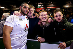 Kai Owen of England U20 with fans - Mandatory by-line: Robbie Stephenson/JMP - 22/02/2019 - RUGBY - Zip World Stadium - Colwyn Bay, Wales - Wales U20 v England U20 - Under-20 Six Nations