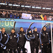 Argentinian players in the dugout before the start the Argentina Vs Ecuador International friendly football match at MetLife Stadium, New Jersey. USA. 31st march 2015. Photo Tim Clayton