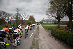 The peloton chases the break in the second lap of Stage 4 of the Healthy Ageing Tour - a 126.6 km road race, starting and finishing in Finsterwolde on April 8, 2017, in Groeningen, Netherlands.