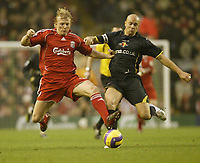 Photo: Aidan Ellis.<br /> Liverpool v Watford. The Barclays Premiership. 23/12/2006.<br /> Liverpool's Dirk Kuyt and Gavin Mahon