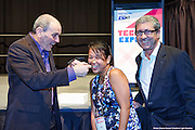 Glenn Irvine from Google Enterprises presents June Chin winner of the Google glass  competition with Greg Vincent from Mix FM at the ICTCNT Business Technology Exhibition & Conference . Darwin Convention Centre. 3 September 2014 Darwin. Photo Shane Eecen