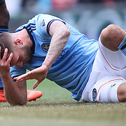 NEW YORK, NEW YORK - April 12: Maxime Chanot #4 of New York City FC holds his head after a clash of heads form a corner kick during the New York City FC Vs San Jose Earthquakes regular season MLS game at Yankee Stadium on April 1, 2017 in New York City. (Photo by Tim Clayton/Corbis via Getty Images)