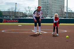 NORMAL, IL - April 06: Coen Frambes tosses a ceremonial first pitch during a college women's softball game between the ISU Redbirds and the University of Northern Iowa Panthers on April 06 2019 at Marian Kneer Field in Normal, IL. (Photo by Alan Look)