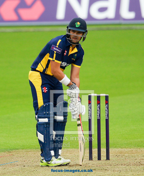 Jaques Rudolph of Glamorgan takes guard during the Natwest T20 Blast match at the Kia Oval, London<br /> Picture by John Rainford/Focus Images Ltd +44 7506 538356<br /> 11/07/2014