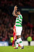 Celtic forward Moussa Dembele (#10) applauds the Celtic fans after scoring from the penalty spot (3-0) during the Scottish Cup final match between Aberdeen and Celtic at Hampden Park, Glasgow, United Kingdom on 27 November 2016. Photo by Craig Doyle.