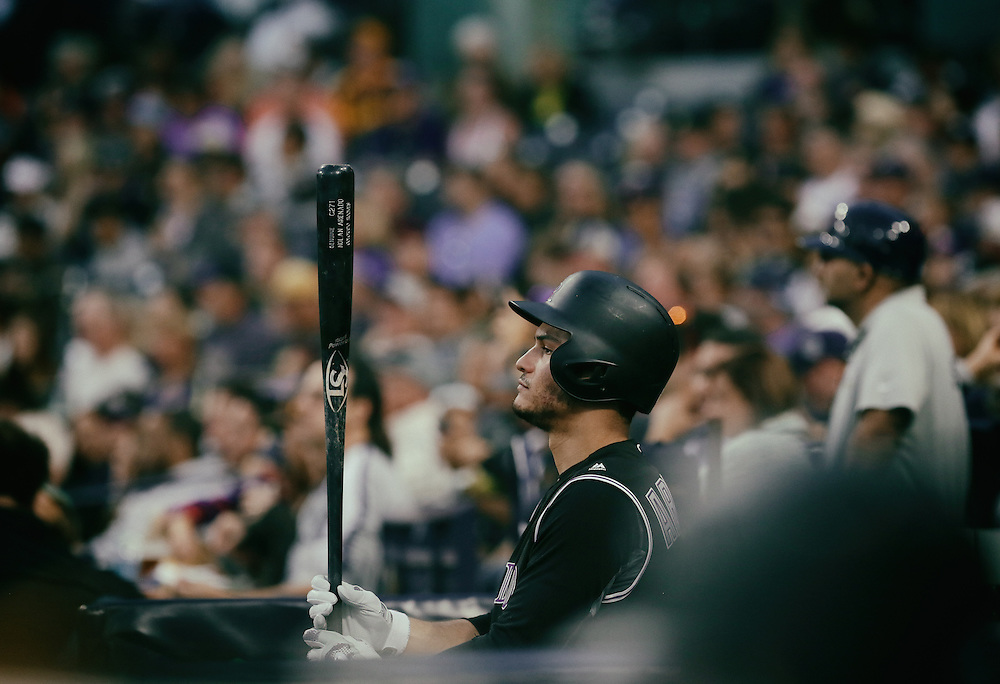 San Diego, CA - JUNE 04:   Nolan Arenado preparesto bat in the First inning during game against the Padres at Petco Park during game with the San Diego Padres San Diego, California.  (Sandy Huffaker for ESPN)