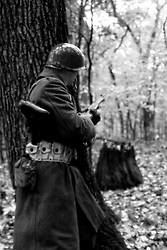 World War 2 reenactment at Rice Woods with German, American, and Polish forces being portrayed