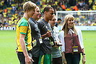 Picture by Paul Chesterton/Focus Images Ltd.  07904 640267.13/05/12.Elliott Bennett of Norwich receives an award before the Barclays Premier League match at Carrow Road Stadium, Norwich.