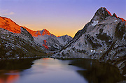 Sunset at Sawtooth Lake and Mt Regan