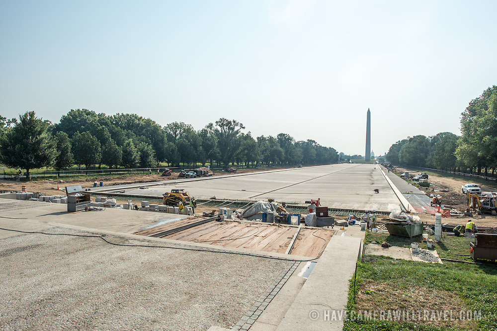 Reflecting Pool Renovation. Construction as part of the renovation of the Reflecting Pool on the National Mall in Washington DC