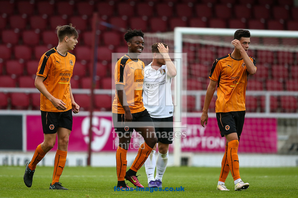 Niall Ennis of Wolverhampton Wanderers (centre) celebrates scoring a goal during the pre-season match at Sixfields Stadium, Northampton<br /> Picture by Andy Kearns/Focus Images Ltd 0781 864 4264<br /> 26/07/2016