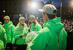 Spela Rogelj, Maja Vtic and Peter Prevc  during reception of Slovenian Winter athletes after the end of season 2015/16, on March 22, 2016 in Kongresni trg, Ljubljana, Slovenia. Photo by Matic Klansek Velej / Sportida