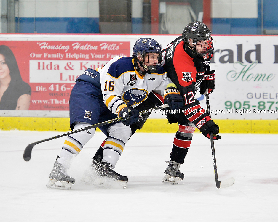 GEORGETOWN, ON  - NOV 4,  2017: Ontario Junior Hockey League game between the Georgetown Raiders and Buffalo Jr. Sabres. Matt McJannet #12 of the Georgetown Raiders tries to gain position on Ethan Kirbis #16 during the third period.<br /> (Photo by Shawn Muir / OJHL Images)