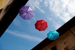 Umbrellas in the sky in Tricesimo at Giro Rosa 2018 - Stage 9, a 104.7 km road race from Tricesimo to Monte Zoncolan, Italy on July 14, 2018. Photo by Sean Robinson/velofocus.com