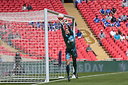 Martin Horsell (Hereford FC) pushes the ball away from the goal for a corner during the FA Vase match between Hereford and Morpeth Town at Wembley Stadium, London, England on 22 May 2016. Photo by Mark Doherty.