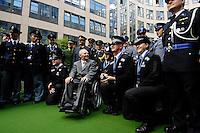 06 JUN 2006, BERLIN/GERMANY:<br /> Wolfgang Schaeuble, CDU, Bundesinnenminister, waehrend einem Fototerm,nach der Begruessung der anl. der Fussball-WM in Deutschland eingesetzten auslaendischen Polizisten, Innenhof Bundesinnenministerium <br /> IMAGE: 20060606-01-015<br /> KEYWORDS: speech, Wolfgang Schäuble, Polizei, FIFA-WM, Gruppenfoto