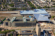 Nederland, Zuid-Holland, Rotterdam, 15-07-2012; Binnenstad, Stationsplein en Weena. Nieuwbouw nieuwe station. Groothandelsgebouw. .New construction central railway station in the center of Rotterdam. luchtfoto (toeslag), aerial photo (additional fee required).foto/photo Siebe Swart
