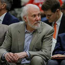 Apr 11, 2018; New Orleans, LA, USA; San Antonio Spurs head coach Gregg Popovich reacts on the bench during the second half at the Smoothie King Center. The Pelicans defeated the Spurs 122-98. Mandatory Credit: Derick E. Hingle-USA TODAY Sports