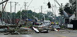 May 29, 2019 - Dayton, Ohio, U.S. - North Dixie Drive is still closed on Wednesday morning after the area was hit hard by Tornadoes. (Credit Image: © Ernest Coleman/ZUMA Wire)