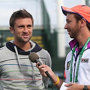 March 1, 2014, Palm Springs, California: <br /> ATP player Tim Smyczek addresses kids during Kids Day at the Indian Wells Tennis Garden sponsored by the Coachella Valley National Junior Tennis and Learning Network.<br /> (Photo by Billie Weiss/BNP Paribas Open)