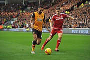 Hull City midfielder Ahmed Elmohamady and Stewart Downing of Middlesbrough FC during the Sky Bet Championship match between Hull City and Middlesbrough at the KC Stadium, Kingston upon Hull, England on 7 November 2015. Photo by Ian Lyall.