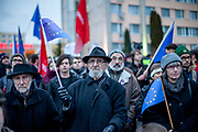 "Prostestors with EU flags in front of  ""Top Hotel"" in Prague's quater Chodov. They are protesting for European values and against the conference of the European anti-migrant parties ""Europe of Nations and Freedom"" (ENF). Attending were Marie Le Pen from France, Geert Wilders from Holland and Tomio Okamura of the Freedom and Direct Democracy (SPD) movement from Czech Republic which was hosting the meeting."