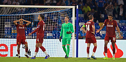 NAPLES, ITALY - Tuesday, September 17, 2019: Liverpool's Trent Alexander-Arnold (L) and goalkeeper Adrián San Miguel del Castillo look dejected as a penalty is awarded to SSC Napoli during the UEFA Champions League Group E match between SSC Napoli and Liverpool FC at the Studio San Paolo. (Pic by David Rawcliffe/Propaganda)