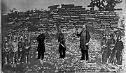 Maximilian I of Mexico (1832 – 1867), Tomás Mejía, and Miguel Miramón and firing squad, superimposed on photograph of their place of execution, at Querétaro. Maximilian. Emperor of Mexico (1864-1867).