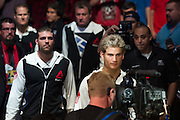 HOUSTON, TX - OCTOBER 3:  Sage Northcutt prepares to enter the Octagon before his fight against Francisco Trevino during UFC 192 at the Toyota Center on October 3, 2015 in Houston, Texas. (Photo by Cooper Neill/Zuffa LLC/Zuffa LLC via Getty Images) *** Local Caption *** Sage Northcutt