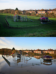 © Licensed to London News Pictures. 27/12/2016. York, UK. Side by side comparison pictures showing a childrens play area near Huntington Road in York as it is today, December 27, 2016 (TOP), and exactly a year ago today, on December 27, 2015 (BOTTOM) during the middle of severe flooding. Homes and businesses were destroyed in the flooding over the Christmas period last year. Photo credit: Ben Cawthra/LNP
