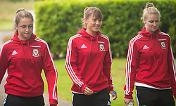 CARDIFF, WALES - Friday, August 19, 2016: Wales'  Chloe Chivers, Gemma Evans and Rhiannon Roberts during a pre-match walk at the Vale Resort ahead of the international friendly match against Republic of Ireland. (Pic by Laura Malkin/Propaganda)