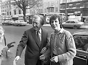 Opening of New Ogra Fianna Fail office on O'Connell St,Dublin.1982.30.01.1982.01.30.1982.30th January 1982..Image taken of  Mr Charles HaugheyT.D. as he prepares to leave still has time for words with well wishers..