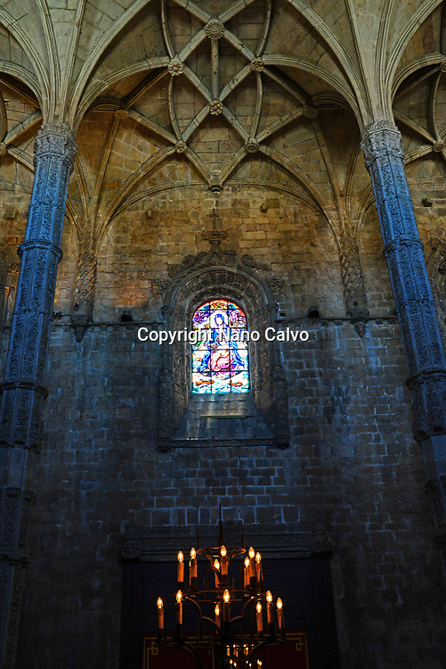 Interior of church at Jeronimos Monastery or Hieronymites Monastery (The Mosteiro dos Jeronimos), a former monastery of the Order of Saint Jerome near the Tagus river in the parish of Belém, in the Lisbon Municipality, Portugal