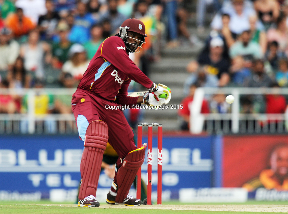 Chris Gayle of West Indies during the 2015 KFC T20 International Series match between South Africa and West Indies at Wanderers, Johannesburg on the 11 January 2015  ©Muzi Ntombela/BackpagePix