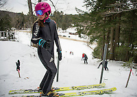 Michelle Weimer U12 Andover Outing Club stands at the top of the K20 awaiting her training run during GNA's ski jump meet on Saturday morning.  (Karen Bobotas/for the Laconia Daily Sun)