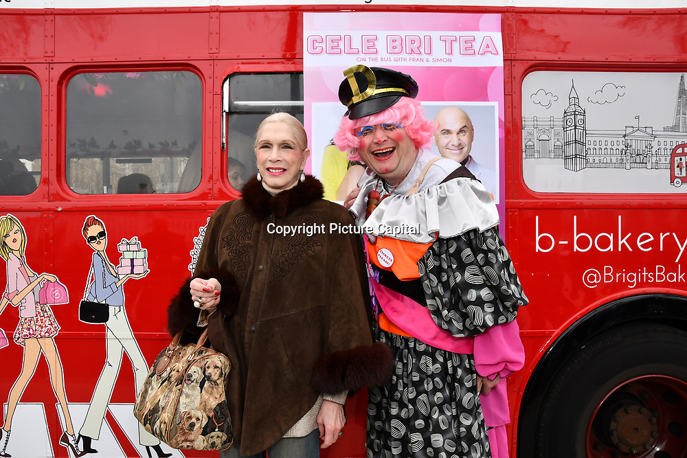 Lady Colin Campbell and John Dixon attend Celeb Bri Tea, on board the BB Bakery bus on 22 March 2019, London, UK.