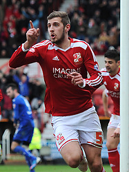 Swindon Town's Jack Stephens celebrates his opening goal against Chesterfield in the Sky Bet League One match between Swindon Town and Chesterfield at The County Ground on January 17, 2015 in Swindon, England. - Photo mandatory by-line: Paul Knight/JMP - Mobile: 07966 386802 - 17/01/2015 - SPORT - Football - Swindon - The County Ground - Swindon Town v Chesterfield - Sky Bet League One